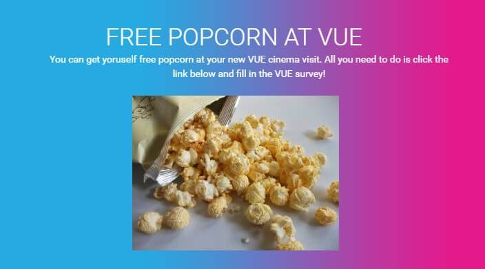 Get Some Free Popcorn At Vue By Taking The Survey