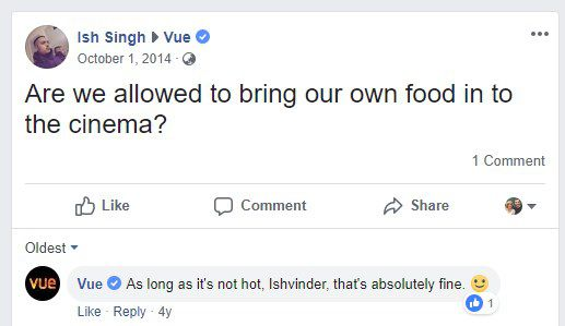 Vue Confirming You Can Bring In Outside Food Into Their Cinema