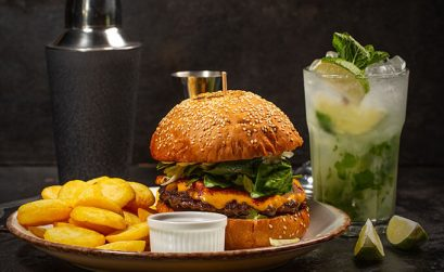 Burger And Drinks Availabel On Studio Movie Grill Menu
